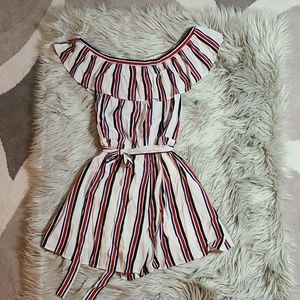 Express Romper Striped Off The Shoulder Tie Waist